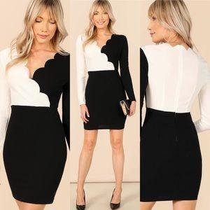 🆕Scallop trim black &white long sleeve sexy dress